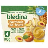 Blédina Purée De Fruits - Harmonie De Fruits - De 6 À 36 Moi... - 4x100g