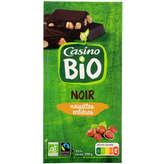 CASINO BIO Tablette chocolat - Noir - Noisettes en