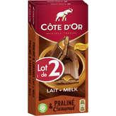Côte d'Or COTE D'OR Chocolat au lait - Praliné et caramel - 2x200g