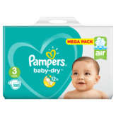 Pampers - Baby Dry - Couches Taille 3 (5-9 kg/Midi) - Mega Pack (x100 couches)