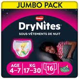 Huggies DRYNITES DryNites - Sous-vêtements de nuit - Filles - De 4 à... - x16