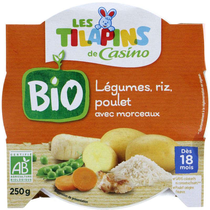 LES TILAPINS BIO Légumes riz poulet - Avec morceaux - Assiet...