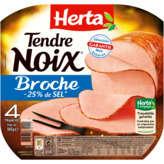 HERTA Tendre noix - Jambon - A la broche - A teneur réduite en sel - 4 tranches