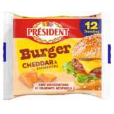 Président PRESIDENT Tranch'fine burger - Cheddar et Emmental - Fromage... - 200g