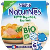 Nestlé NATURNES Petits légumes, Saumon - Dès 6 mois - Biologique - 2x190g