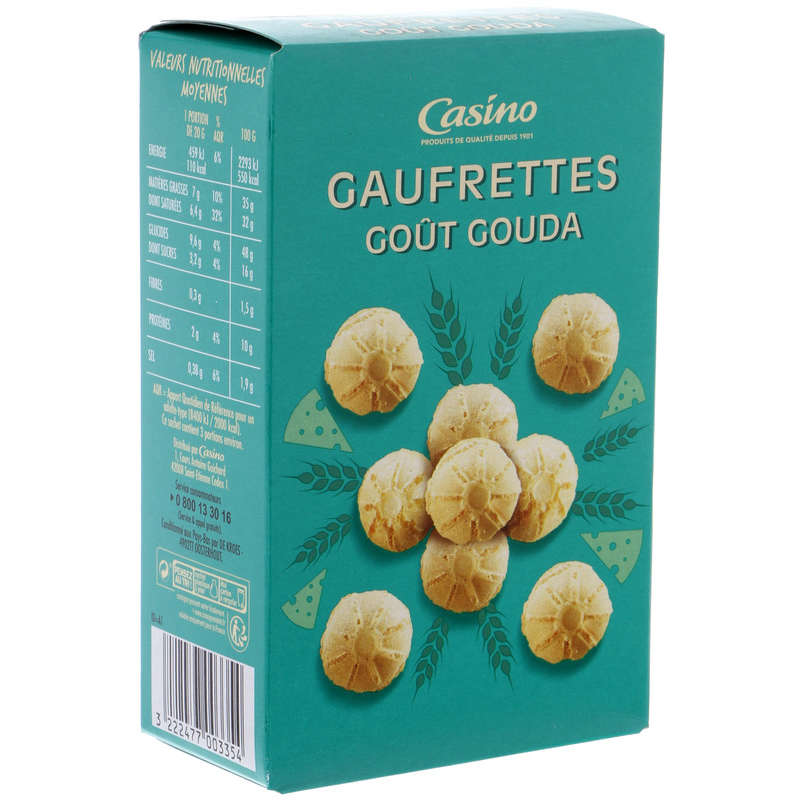 CASINO Gaufrettes - Biscuits apéritifs - Goût gouda