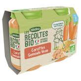 Blédina BLEDINA Les récoltes bio - Carotte Semoule Veau - Petits pot... - 2x200g