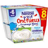 Nestlé Nestle P'tit Onctueux - Fromage Blanc Saveur Nature Sucré - 8x100g