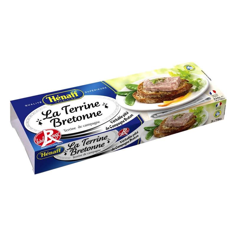 Henaff terrine bretonne label rouge 3X78g