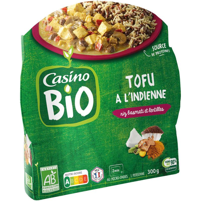 CASINO BIO Tofu à l'indienne - Riz basmati et lentilles - Bi...