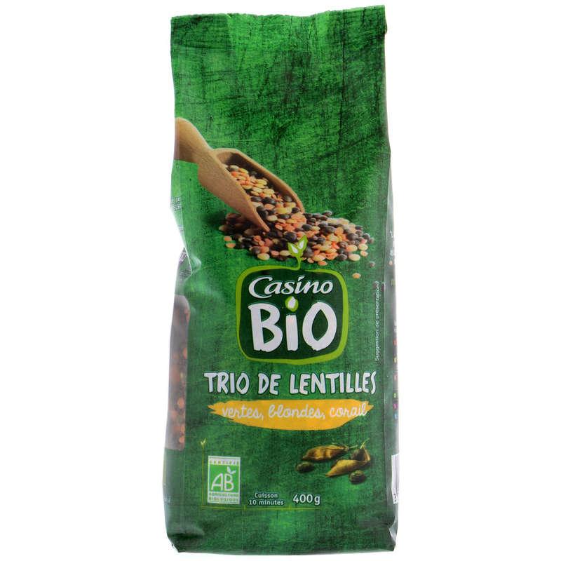 CASINO BIO Trio de lentilles - Vertes, blondes, corail - Bio...