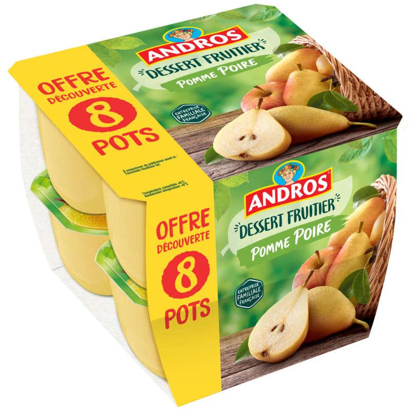 Andros Dessert de pomme poire les 8 pots de 100 g - offre découverte
