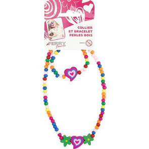 Colier et bracelet perles en bois