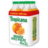 Tropicana TROPICANA Pure Premium - Jus d'orange avec pulpe - 100% pur ... - 4x1l