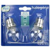 Ampoules halogènes sphérique 42w b22 x2