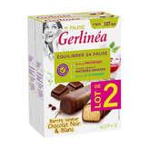 Gerlinéa Ma Pause - Barres saveur chocolat noir et blanc les 2 boites de 372g