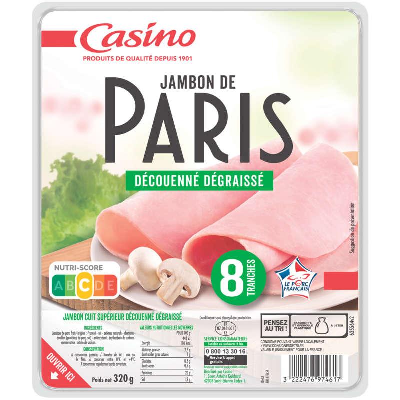 CASINO Jambon de Paris - Découenné dégraissé - 8 tranches