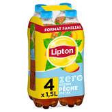 Lipton LIPTON Pêche - Zero sucre - Boisson aromatisée à la pêche - 4x1,5l