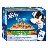 PURINA Felix - Tendres effilés - Bouchées en gelée pour chat - Viandes Poissons - Sachetx24