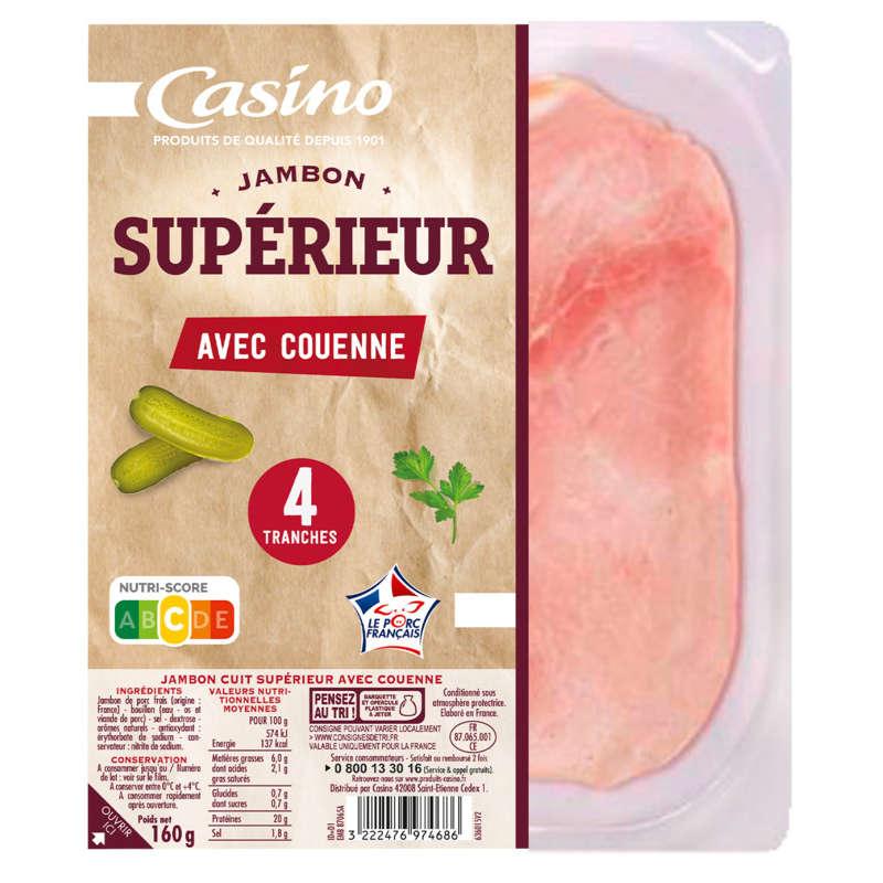 CASINO Jambon supérieur - Avec couenne - 4 tranches