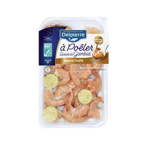 Queues de crevettes cuites au beurre truffé