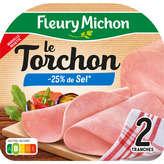 Fleury Michon Jambon Torchon - Sans Couenne - Sel Réduit -25... - 80g