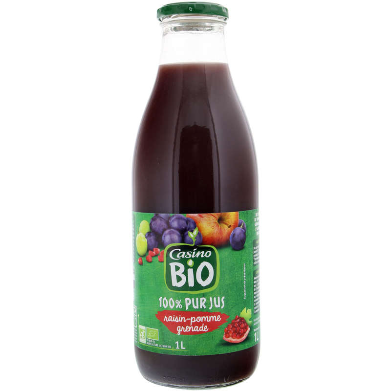 Pur jus de raisin pomme - Saveur grenade - Biologique