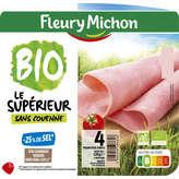 Jambon cuit de Paris qualité supérieur léger sans couenne FLEURYMICHON, 4 tranches, 120g