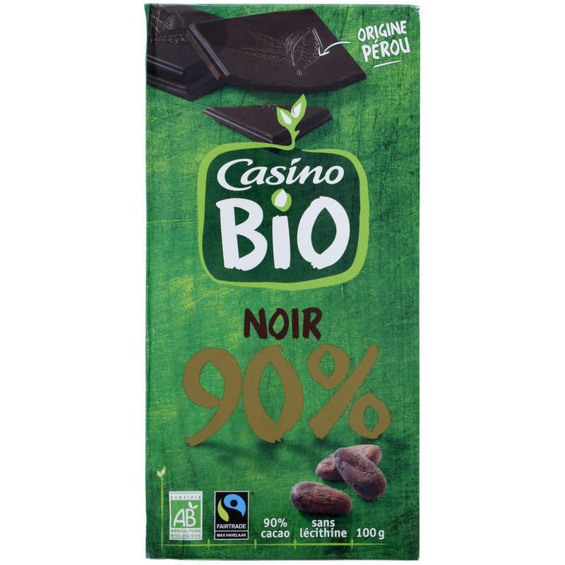 CASINO BIO Tablette de chocolat - Noir - 90% de cacao - Biol...
