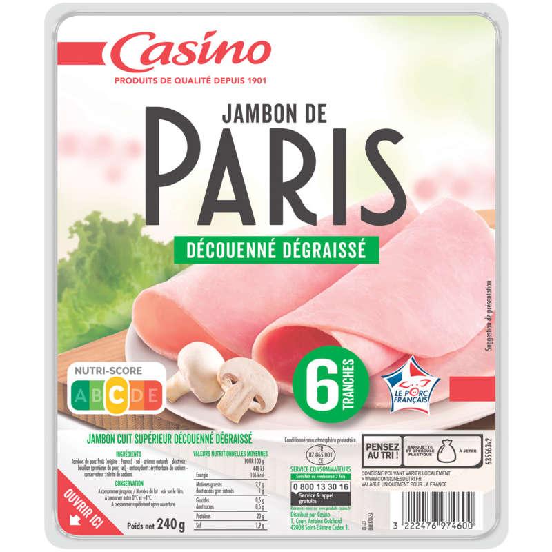 CASINO Jambon de Paris - Découenné dégraissé - 6 tranches
