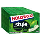 Hollywood HOLLYWOOD Style - Chewing-gum menthe verte sans sucres - 4x12
