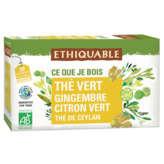 Ethiquable ETHIQUABLE Thé vert de Ceylan - gingembre citron vert - sach... - x20