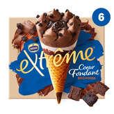 Nestlé NESTLE Extrême - Cornets glacés - Cœur fondant - Brownies - ... - x6