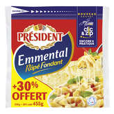 Président PRESIDENT Fromage Emmental - Râpé Fondnat - 455g