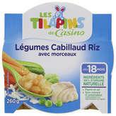 Assiette légumes riz cabillaud 260g