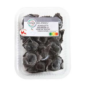 Agnolotti noir saumon et sèche