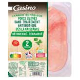 Jambon cuit supérieur - Dégraissé découenné - Sans antibiot...